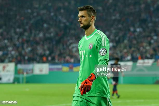 goalkeeper Sven Ulreich of Muenchen looks on during the DFB Cup round 2 match between RB Leipzig and Bayern Muenchen at Red Bull Arena on October 25...
