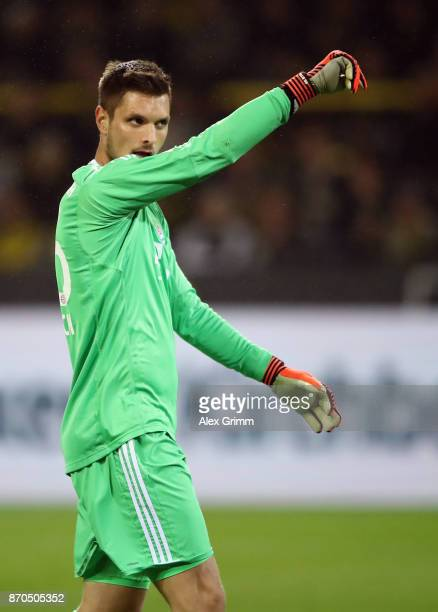 Goalkeeper Sven Ulreich of Muenchen reacts during the Bundesliga match between Borussia Dortmund and FC Bayern Muenchen at Signal Iduna Park on...