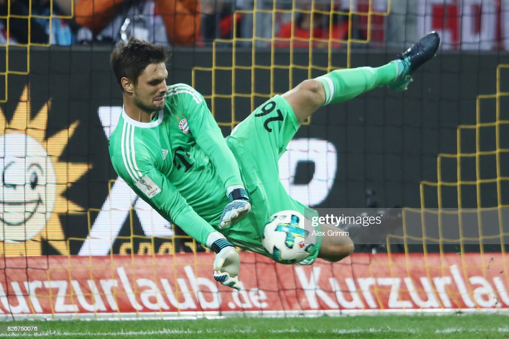 Goalkeeper Sven Ulreich of Muenchen saves the decisive penalty during the penalty shootout of the DFL Supercup 2017 match between Borussia Dortmund and Bayern Muenchen at Signal Iduna Park on August 5, 2017 in Dortmund, Germany.