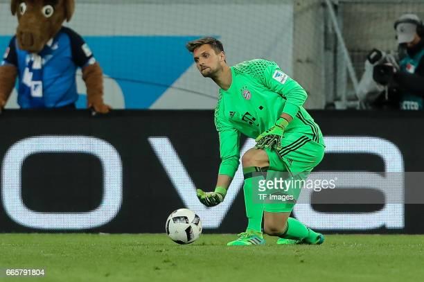 Goalkeeper Sven Ulreich of Munich controls the ball during the Bundesliga match between TSG 1899 Hoffenheim and Bayern Muenchen at Wirsol...