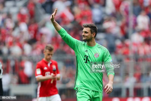 goalkeeper Sven Ulreich of Munich gestures during the Bundesliga match between Bayern Muenchen and FC Augsburg at Allianz Arena on April 1 2017 in...