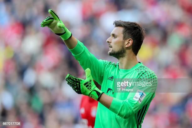 Goalkeeper Sven Ulreich of Munich gestures during the Bundesliga match between Bayern Muenchen and Borussia Dortmund at Allianz Arena on April 8 2017...