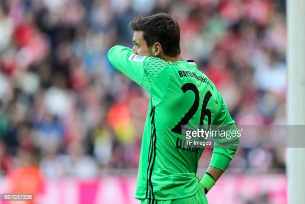Goalkeeper Sven Ulreich of Munich looks dejected during the Bundesliga match between Bayern Muenchen and Borussia Dortmund at Allianz Arena on April...