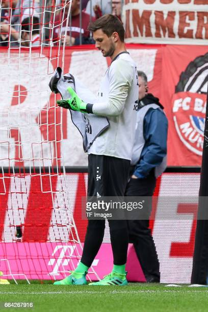 goalkeeper Sven Ulreich of Munich looks on during the Bundesliga match between Bayern Muenchen and FC Augsburg at Allianz Arena on April 1 2017 in...
