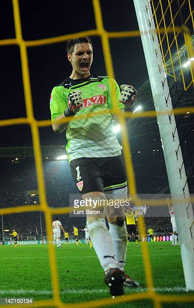 Goalkeeper Sven Ulreich of Stuttgart celebrates during the Bundesliga match between Borussia Dortmund and VfB Stuttgart at Signal Iduna Park on March...