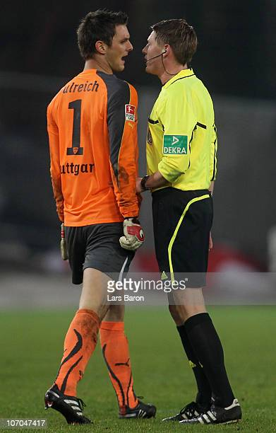 Goalkeeper Sven Ulreich of Stuttgart discuses with referee Christian Dingert after loosing the Bundesliga match between VfB Stuttgart and 1 FC Koeln...