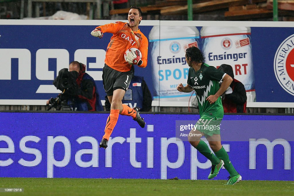 Goalkeeper <a gi-track='captionPersonalityLinkClicked' href=/galleries/search?phrase=Sven+Ulreich&family=editorial&specificpeople=4877030 ng-click='$event.stopPropagation()'>Sven Ulreich</a> of Stuttgart reacts after saving a penalty of Torsten Frings (not in the picture) of Bremen during the Bundesliga match between VfB Stuttgart and SV Werder Bremen at the Mercedes-Benz Arena on November 7, 2010 in Stuttgart, Germany.