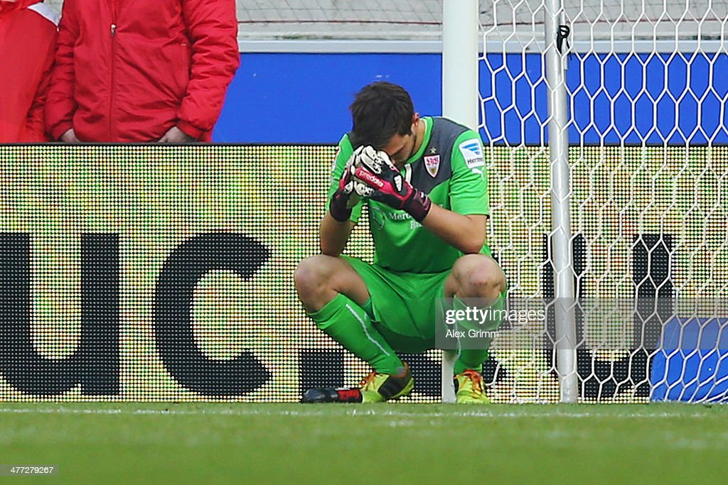 Goalkeeper <a gi-track='captionPersonalityLinkClicked' href=/galleries/search?phrase=Sven+Ulreich&family=editorial&specificpeople=4877030 ng-click='$event.stopPropagation()'>Sven Ulreich</a> of Stuttgart reacts after the Bundesliga match between VfB Stuttgart and Eintracht Braunschweig at Mercedes-Benz Arena on March 8, 2014 in Stuttgart, Germany.