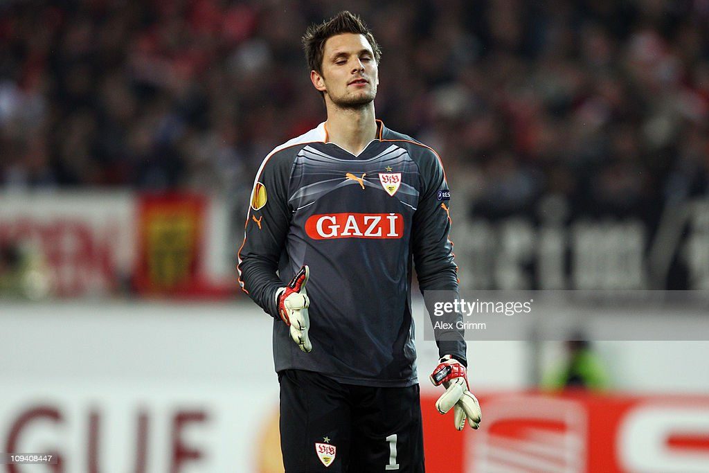 Goalkeeper <a gi-track='captionPersonalityLinkClicked' href=/galleries/search?phrase=Sven+Ulreich&family=editorial&specificpeople=4877030 ng-click='$event.stopPropagation()'>Sven Ulreich</a> of Stuttgart reacts during the UEFA Europa League match round of 32 second leg between VfB Stuttgart and Benfica at Mercedes-Benz Arena on February 24, 2011 in Stuttgart, Germany.