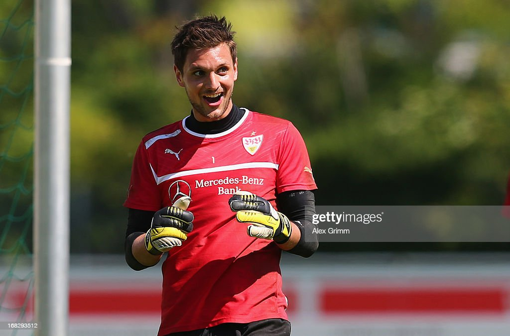 Goalkeeper <a gi-track='captionPersonalityLinkClicked' href=/galleries/search?phrase=Sven+Ulreich&family=editorial&specificpeople=4877030 ng-click='$event.stopPropagation()'>Sven Ulreich</a> reacts during a VfB Stuttgart training session at the club's premises on May 8, 2013 in Stuttgart, Germany.
