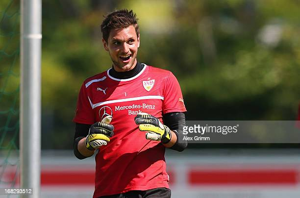 Goalkeeper Sven Ulreich reacts during a VfB Stuttgart training session at the club's premises on May 8 2013 in Stuttgart Germany