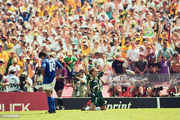 Goalkeeper Taffarel of Brazil celebrates after Roberto Baggio of Italy misses his penalty kick to decide the 1994 FIFA World Cup Final on 17 July...