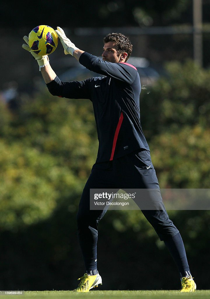 Goalkeeper Tally Hall catches the ball during the U.S. Men's Soccer Team training session at the Home Depot Center on January 17, 2013 in Carson, California.