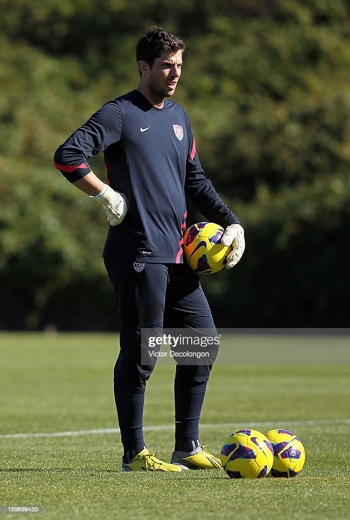 Goalkeeper Tally Hall looks on during the U.S. Men's Soccer Team training session at the Home Depot Center on January 17, 2013 in Carson, California.