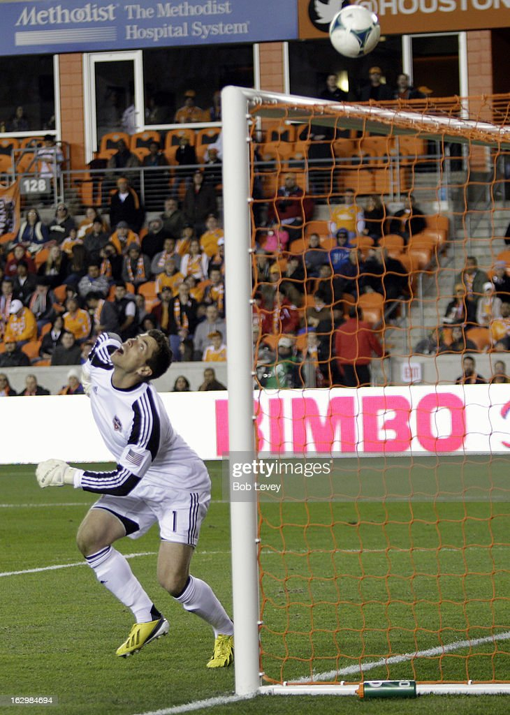 Goalkeeper Tally Hall #1 of the Houston Dynamo watches the ball sail just over the crossbar against D.C. United during first half action at BBVA Compass Stadium on March 2, 2013 in Houston, Texas. Houston won 2-0.