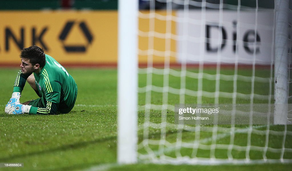 Goalkeeper Teitur Gestson of Faroe Islands reacts during the 2015 UEFA European U21 Championships Qualifying Group Six match between Germany U21 and...