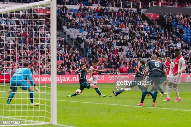 goalkeeper Theo Zwarthoed of Go Ahead Eagles Sebastien Locigno of Go Ahead Eagles David Neres of Ajax Sander Fischer of Go Ahead Eagles Joey Suk of...