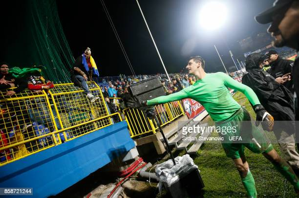 Goalkeeper Thibaut Courtois of Belgium give his jersey to the fan the FIFA 2018 World Cup Qualifier between Bosnia and Herzegovina and Belgium at...