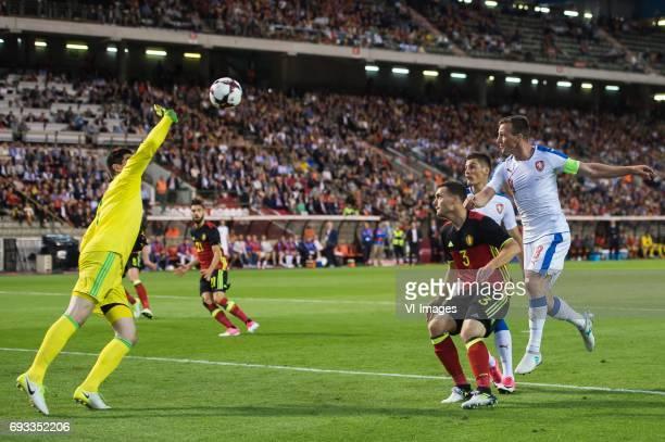 goalkeeper Thibaut Courtois of Belgium Jan Vertonghen of Belgium Yannick Carrasco of Belgium Thomas Vermaelen of Belgium Patrik Schick of Czech...