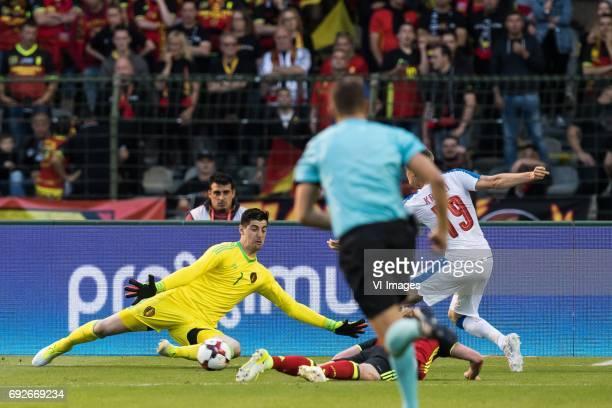 goalkeeper Thibaut Courtois of Belgium Kevin de Bruyne of Belgium Ladislav Krejci of Czech Republicduring the friendly match between Belgium and...