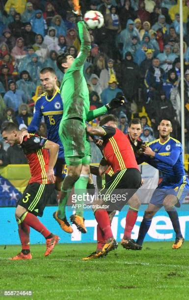 Goalkeeper Thibaut Courtois of Belgium punches the ball during the FIFA World Cup 2018 qualification football match between Bosnia and Herzegovina...