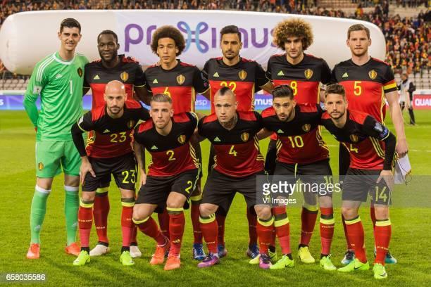 goalkeeper Thibaut Courtois of Belgium Romelu Lukaku of Belgium Axel Witsel of Belgium Nacer Chadli of Belgium Marouane Fellaini of Belgium Jan...