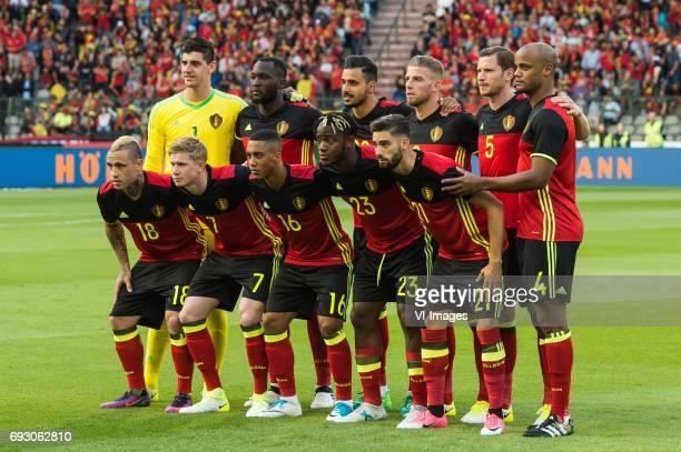 goalkeeper Thibaut Courtois of Belgium Romelu Lukaku of Belgium Nacer Chadli of Belgium Toby Alderweireld of Belgium Jan Vertonghen of Belgium...