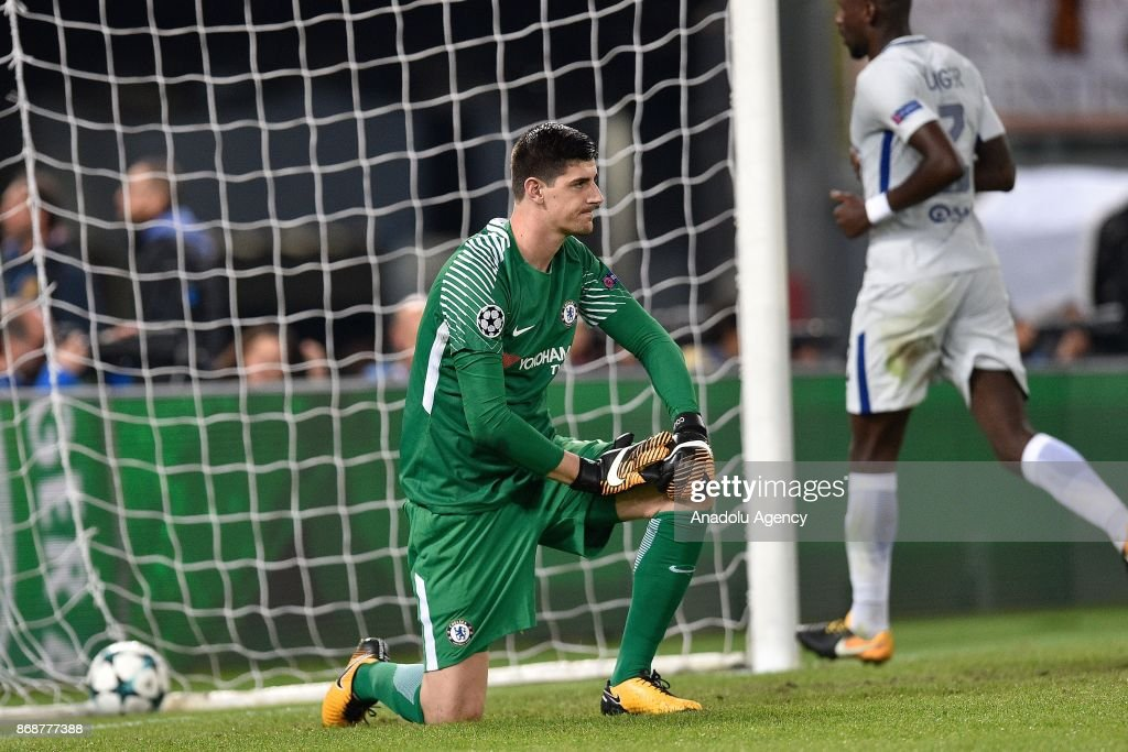 Goalkeeper Thibaut Courtois of Chelsea FC gestures during the UEFA Champions League Group C soccer match between AS Roma and Chelsea FC at Stadio Olimpico in Rome, Italy on October 31, 2017.