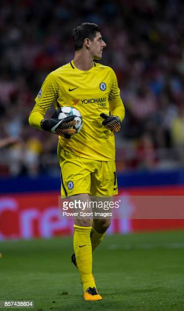 Goalkeeper Thibaut Courtois of Chelsea FC looks on during the UEFA Champions League 201718 match between Atletico de Madrid and Chelsea FC at the...