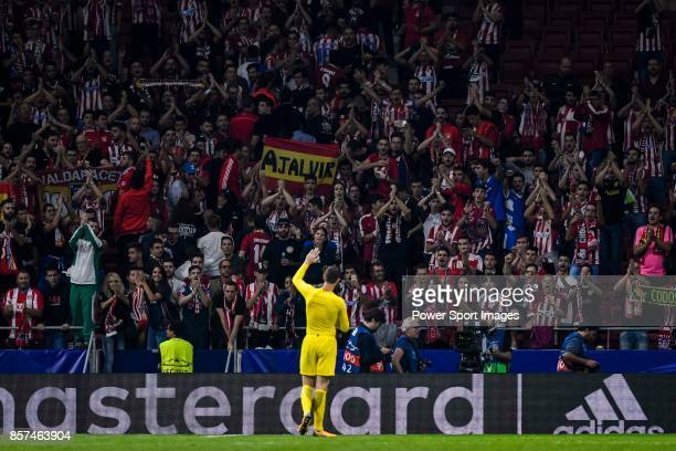 Goalkeeper Thibaut Courtois of Chelsea FC waves the Atletico de Madrid's fans after the UEFA Champions League 201718 match between Atletico de Madrid...