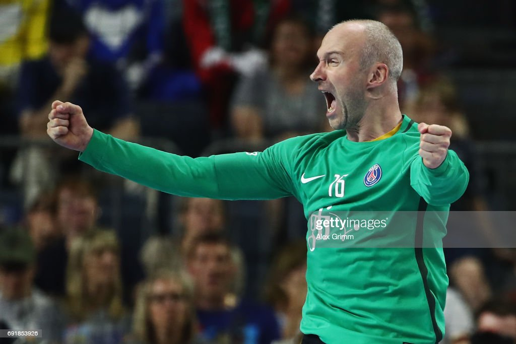 Goalkeeper Thierry Omeyer of Paris celebrates after a save during the VELUX EHF FINAL4 Semi Final between Telekom Veszprem and Paris Saint-Germain Handball at Lanxess Arena on June 3, 2017 in Cologne, Germany.