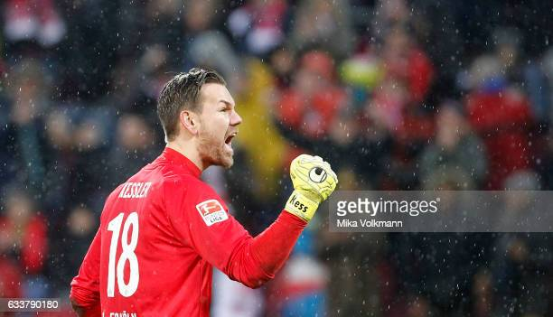 Goalkeeper Thomas Kessler of Cologne celebrates the victory 10 during the Bundesliga match between 1 FC Koeln and VfL Wolfsburg at...