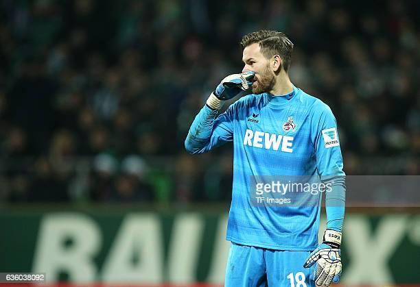Goalkeeper Thomas Kessler of Cologne gestures during the Bundesliga match between Werder Bremen and 1 FC Koeln at Weserstadion on December 17 2016 in...