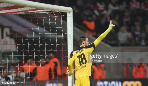 Goalkeeper Thomas Kessler of Cologne gestures during the Bundesliga match between 1 FC Koeln and FC Schalke 04 at RheinEnergieStadion on February 19...