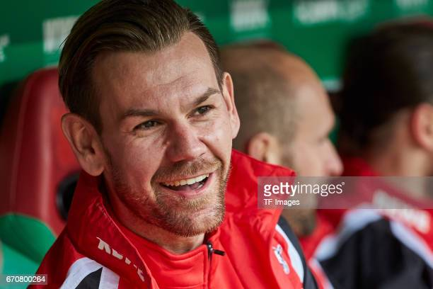 Goalkeeper Thomas Kessler of Colonge gut gelaunt looks on during the Bundesliga match between FC Augsburg and 1 FC Koeln at WWK Arena on April 15...