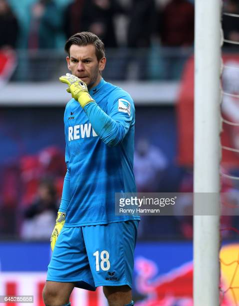 Goalkeeper Thomas Kessler of Koeln reacts during the Bundesliga match between RB Leipzig and 1 FC Koeln at Red Bull Arena on February 25 2017 in...