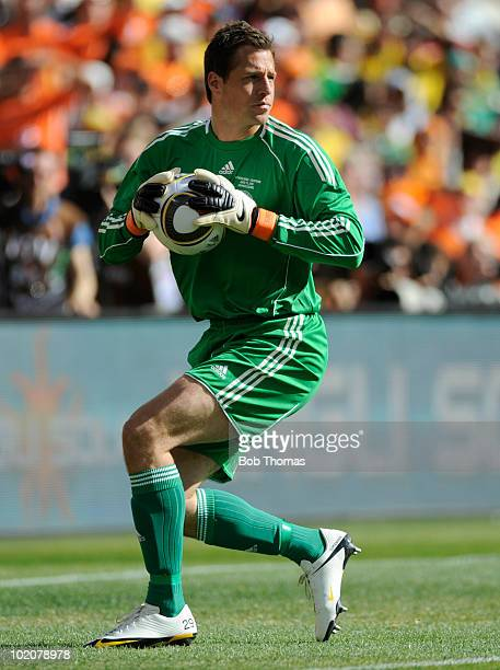 Goalkeeper Thomas Sorensen of Denmark during the 2010 FIFA World Cup Group E match between Netherlands and Denmark at Soccer City Stadium on June 14...