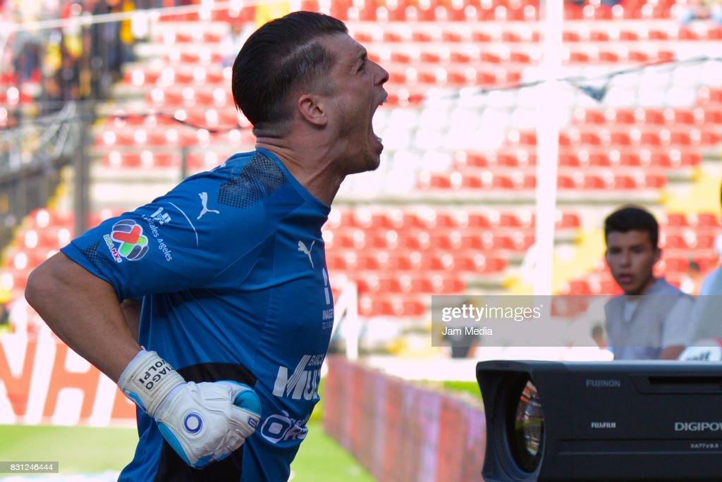 Goalkeeper Tiago Volpi of Queretaro celebrates, during the 4th round match between Queretaro and Morelia as part of the Torneo Apertura 2017 Liga MX at Corregidora Stadium on August 12, 2017 in Mexico City, Mexico.