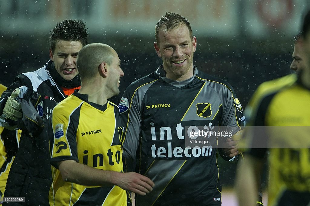 goalkeeper Tim Coremans of NAC Breda, Anthony Lurling of NAC Breda, goalkeeper Jelle ten Rouwelaar of NAC Breda during the Dutch Eredivisie Match between AZ Alkmaar and NAC Breda at the AFAS Stadium on february 24, 2013 in Alkmaar, The Netherlands