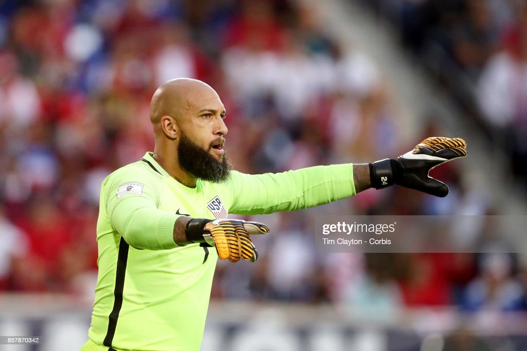 Goalkeeper Tim Howard #1 of the United States in action during the United States Vs Costa Rica CONCACAF International World Cup qualifying match at Red Bull Arena, Harrison, New Jersey on September 01, 2017 in Harrison, New Jersey.