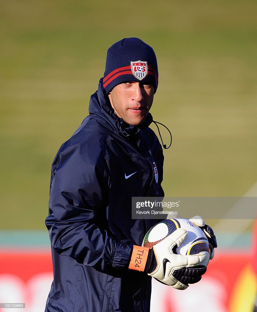 Goalkeeper Tim Howard of US national football team warms up during a training session on June 15, 2010 in Pretoria, South Africa. Howard has been cleared to play when US will play their next World Cup Group C match against Slovenia on Friday June 18, 2010.