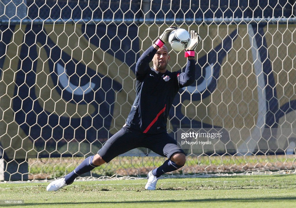 U.S. goalkeeper Tim Howard stops a shot at the net during practice at Florida International University in Miami, Florida, Monday, February 4, 2013.