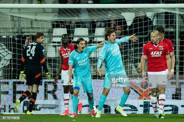 goalkeeper Tim Krul of AZ Derrick Luckassen of AZ Enes Unal of FC Twente Joachim Andersen of FC Twente Ron Vlaar of AZ Wout Weghorst of AZduring the...