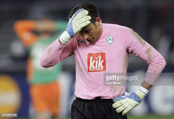 Goalkeeper Tim Wiese looks dejected during the UEFA Champions League Round of 16 Second Leg match between Juventus Turin and Werder Bremen at the...