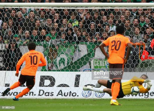 Goalkeeper Tim Wiese of Bremen saves a penalty from Carlos Eduardo of Hoffenheim during the Bundesliga match between SV Werder Bremen and 1899...