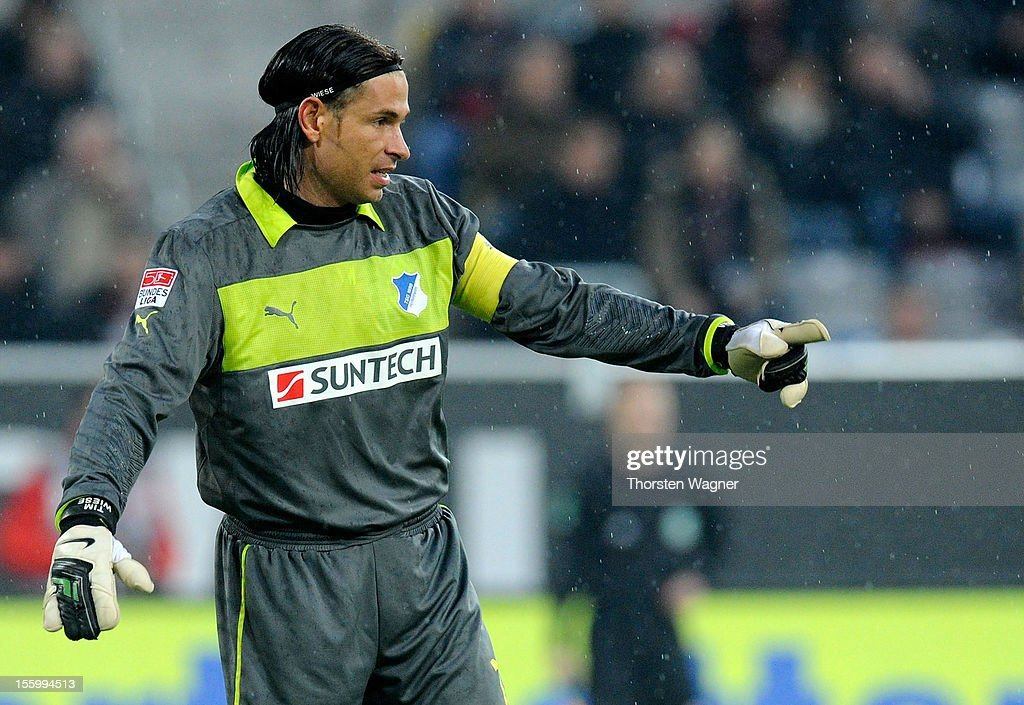 Goalkeeper <a gi-track='captionPersonalityLinkClicked' href=/galleries/search?phrase=Tim+Wiese&family=editorial&specificpeople=635015 ng-click='$event.stopPropagation()'>Tim Wiese</a> of Hoffenheim gesturest during the Bundesliga march between Fortuna Duesseldorf and TSG 1899 Hoffenheim at Esprit-Arena on November 10, 2012 in Duesseldorf, Germany.
