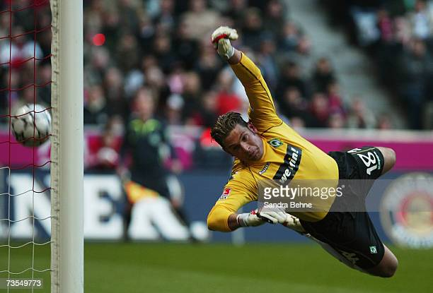 Goalkeeper Tim Wiese of Werder Bremen is seen in action during the Bundesliga match between Bayern Munich and Werder Bremen at the Allianz Arena on...