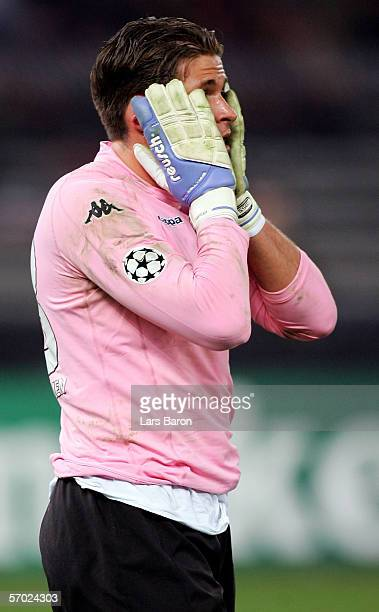 Goalkeeper Tim Wiese of Werder Bremen looks dejected during the UEFA Champions League Round of 16 Second Leg match between Juventus Turin and Werder...