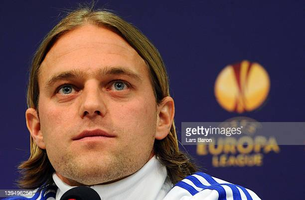 Goalkeeper Timo Hildebrand looks on during a FC Schalke 04 press conference ahead of their UEFA Europa League round of 32 second leg match against FC...
