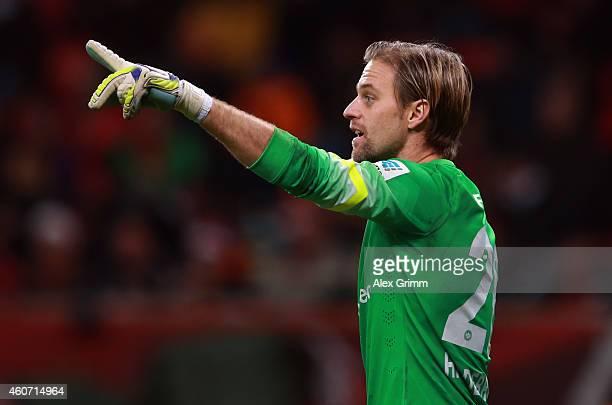 Goalkeeper Timo Hildebrand of Frankfurt gestures during the Bundesliga match between Bayer 04 Leverkusen and Eintracht Frankfurt at BayArena on...